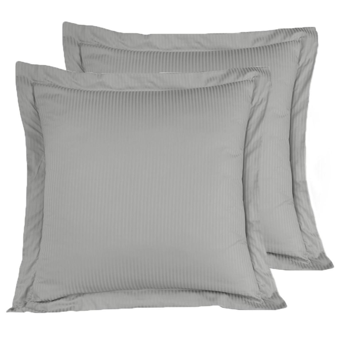 2 taies d'oreiller rayées satin coton Gris Acier 65x65 cm