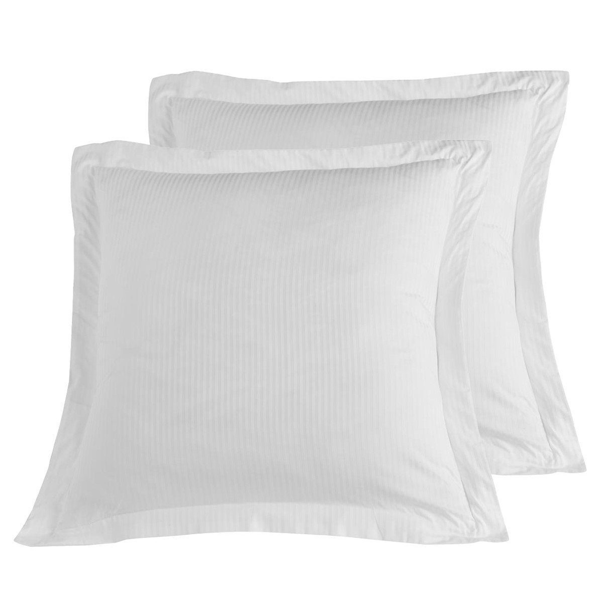 2 taies d'oreiller rayées satin coton Blanc 65x65 cm