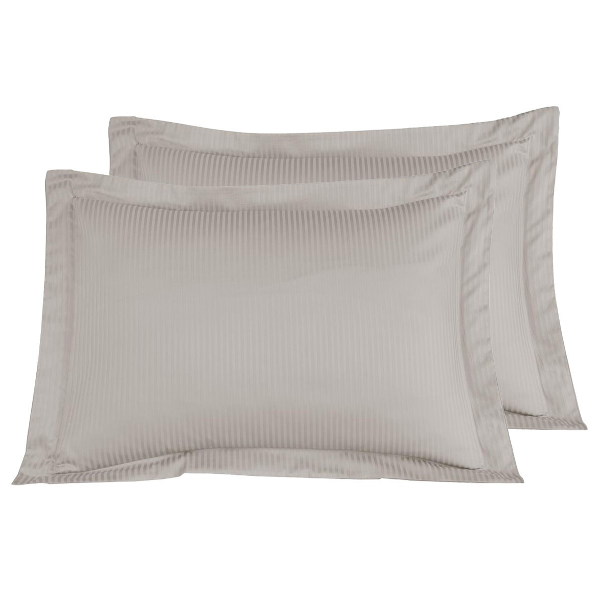2 taies d'oreiller rayées satin coton Taupe 50x70 cm