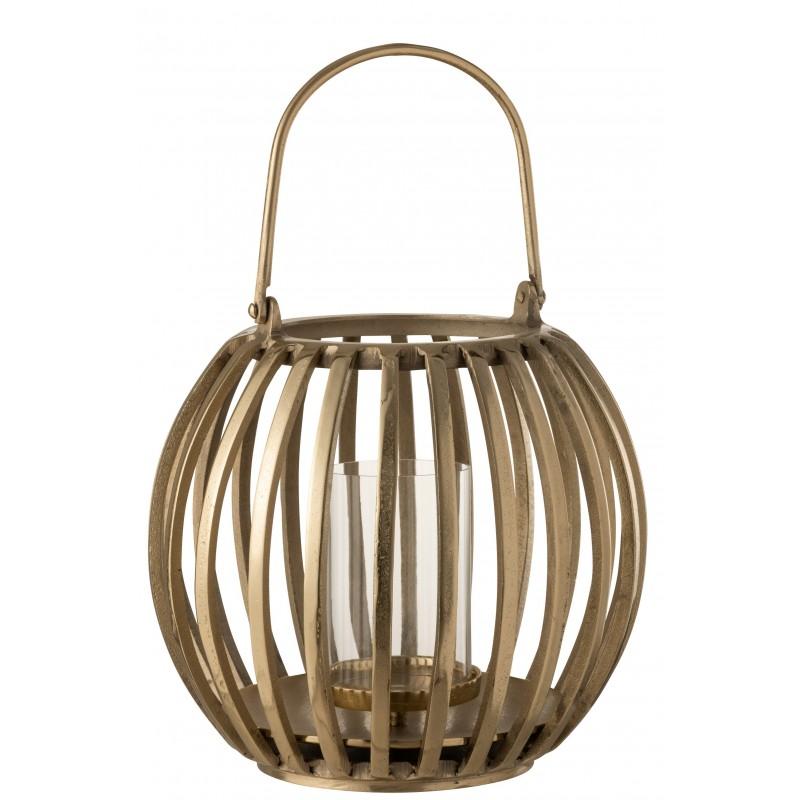 Lanterne boule alu or H35cm