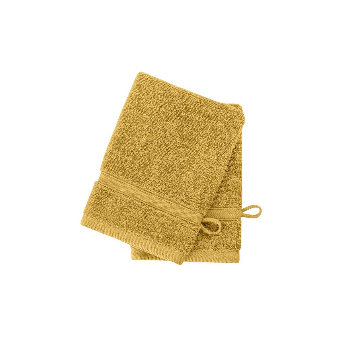2 gants en coton bio Miel 16x22 cm