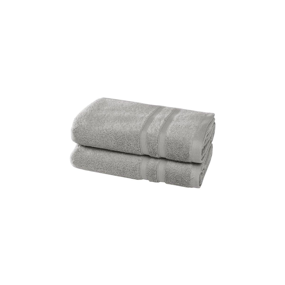 2 serviettes en coton bio Gris Perle 50x100 cm