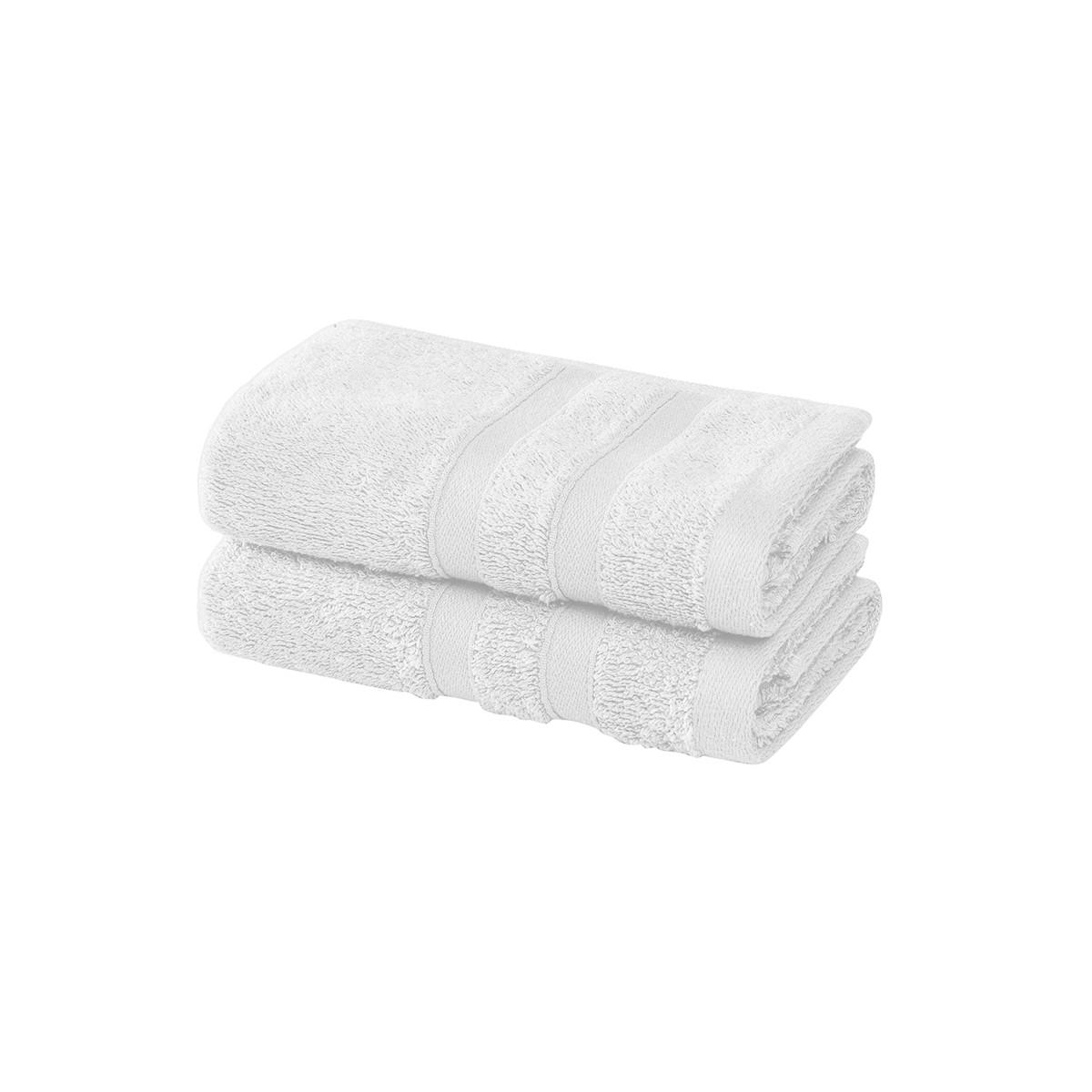 2 serviettes invité en coton bio Blanc 30x50 cm