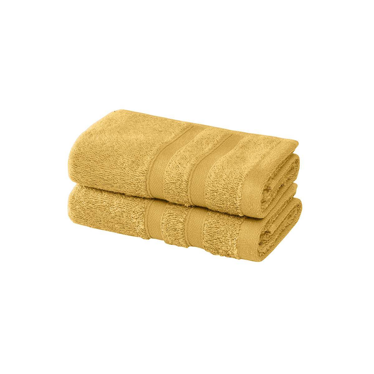 2 serviettes invité en coton bio Miel 30x50 cm