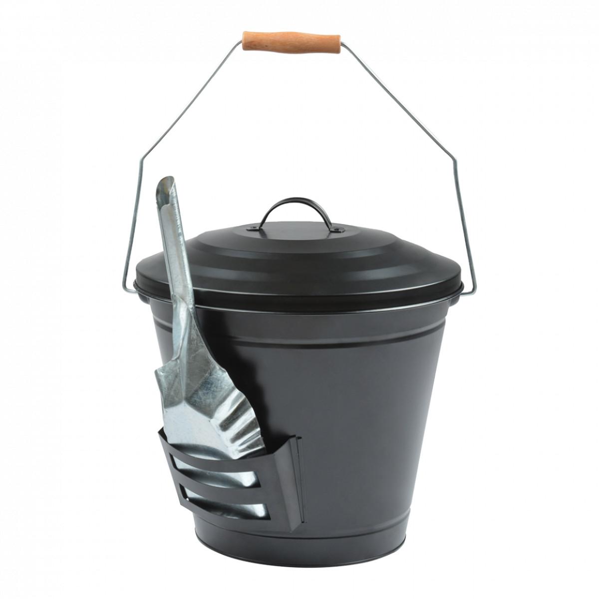 Seau à cendres de cheminée en métal noir avec pelle 14L