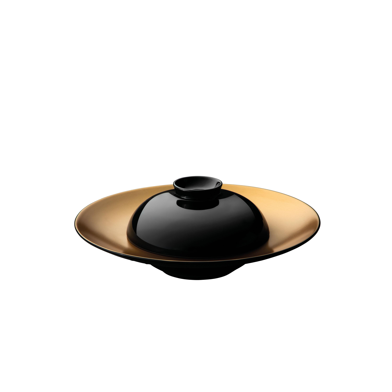 Assiette de présentation profonde et bol noir en porcelaine