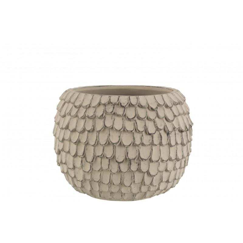 Cache-pot ciment gris clair H18,5cm