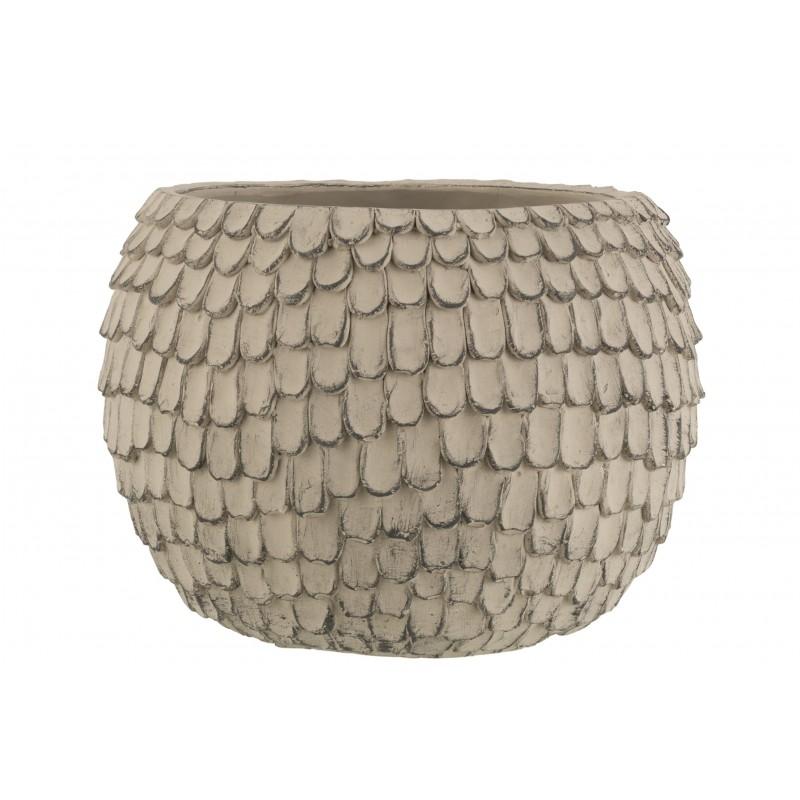 Cache-pot ciment gris clair H24,5cm