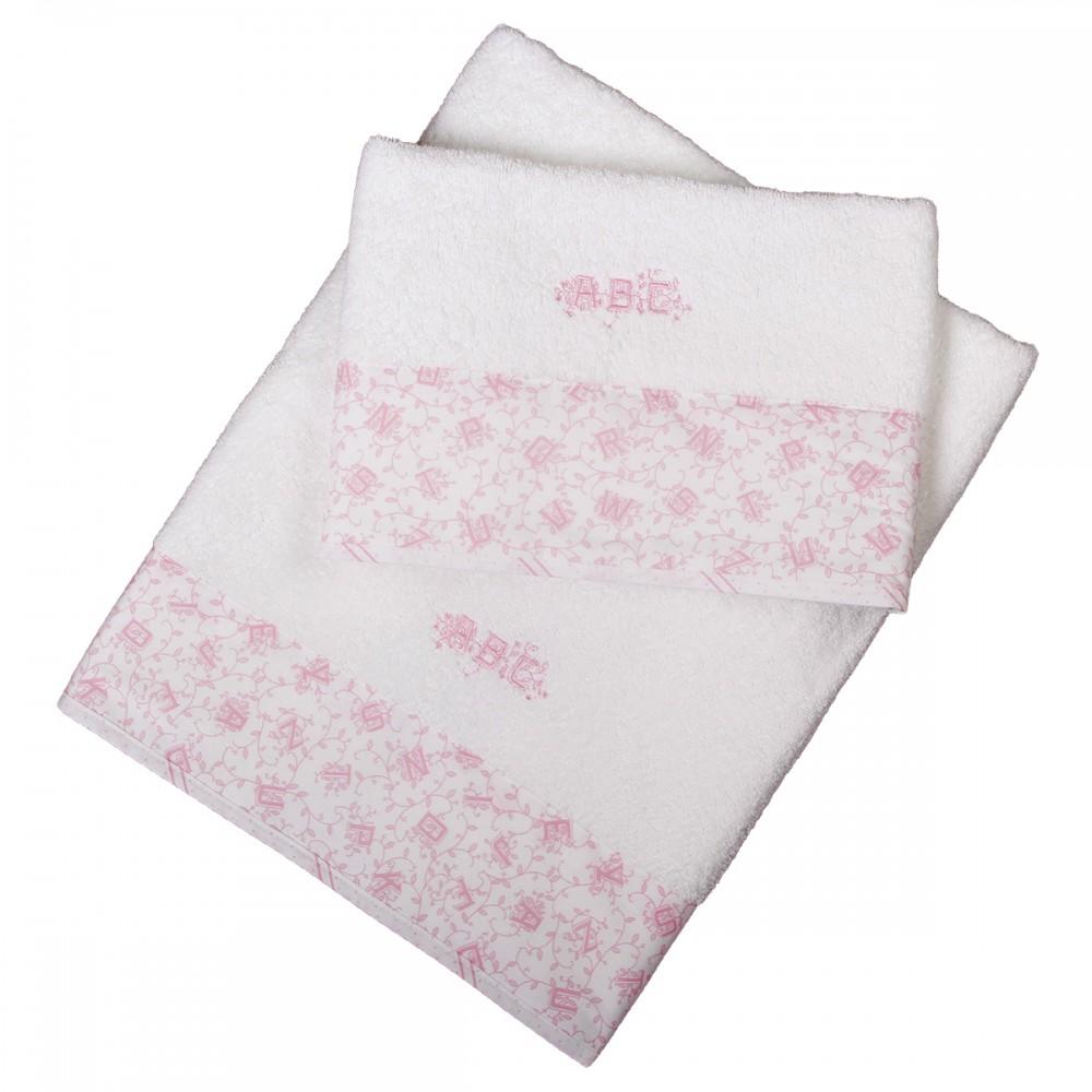 Set 2 pc serviettes éponges 70x140 cm et 50x70 cm alphabet rose