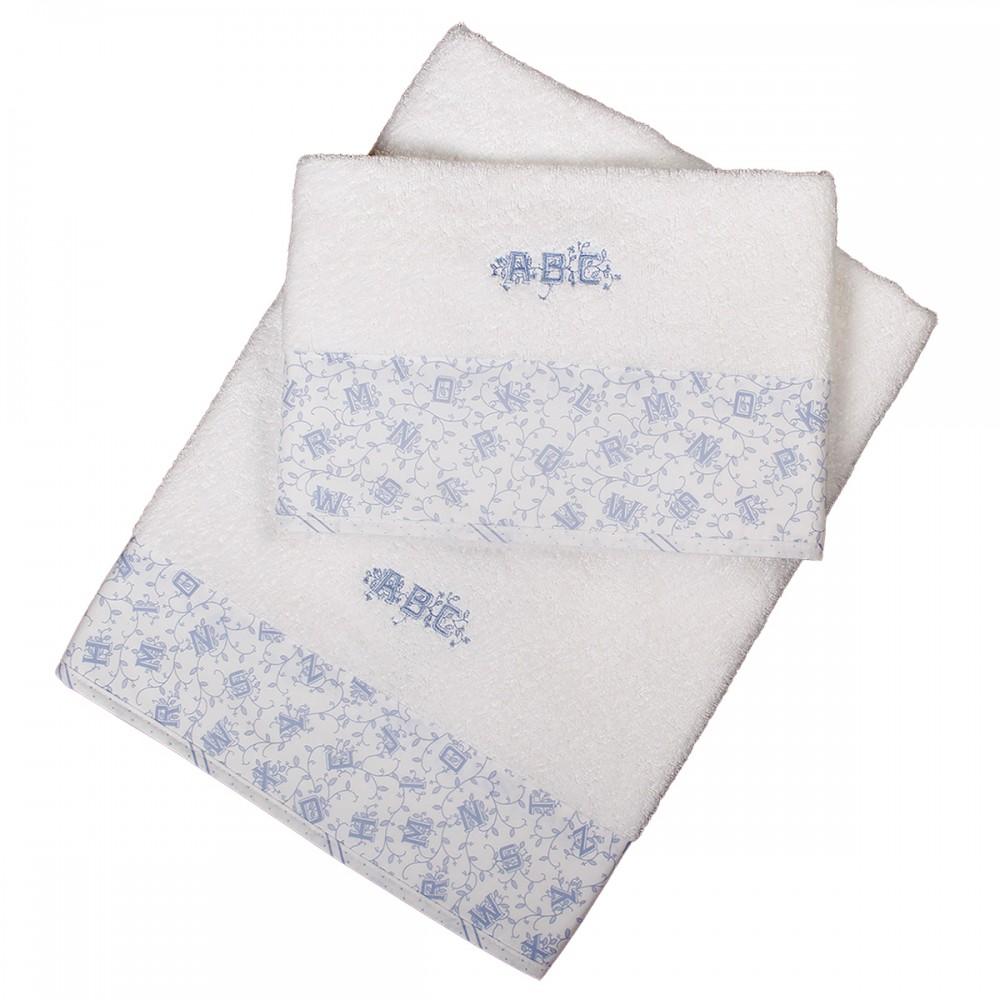 Set 2 pc serviettes éponges 70x140 cm et 50x70 cm alphabet bleu ciel