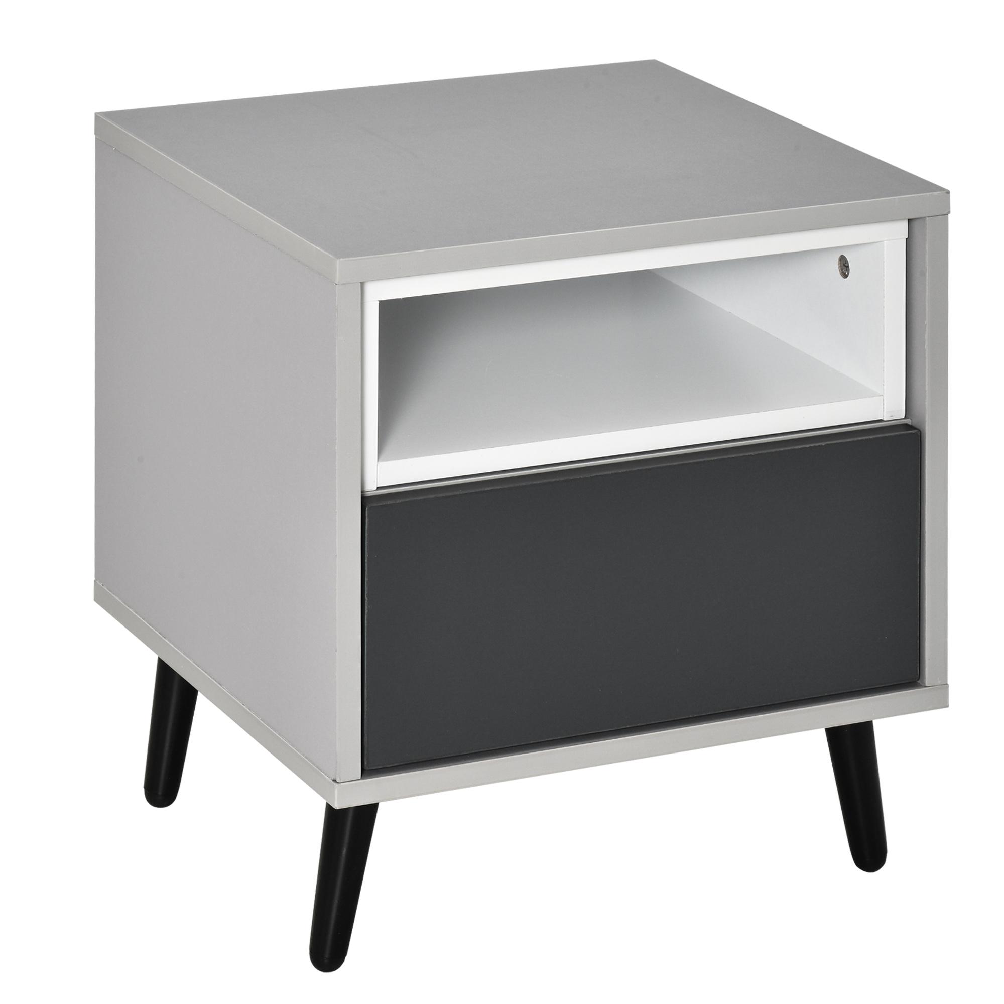 Chevet table de nuit tiroir et niche piètement métal noir gris blanc