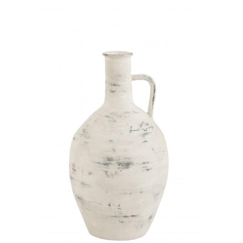 Vase avec anse en céramique blanc/gris H55cm
