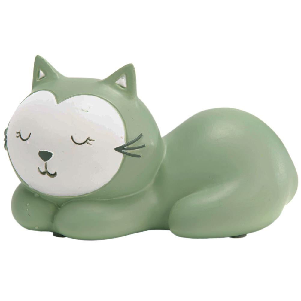 Petite tirelire petit chat vert de gris