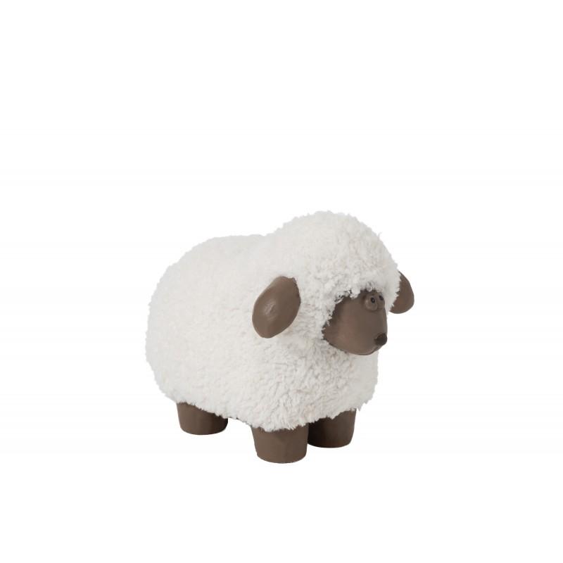 Mouton en résine poils blanc/marron