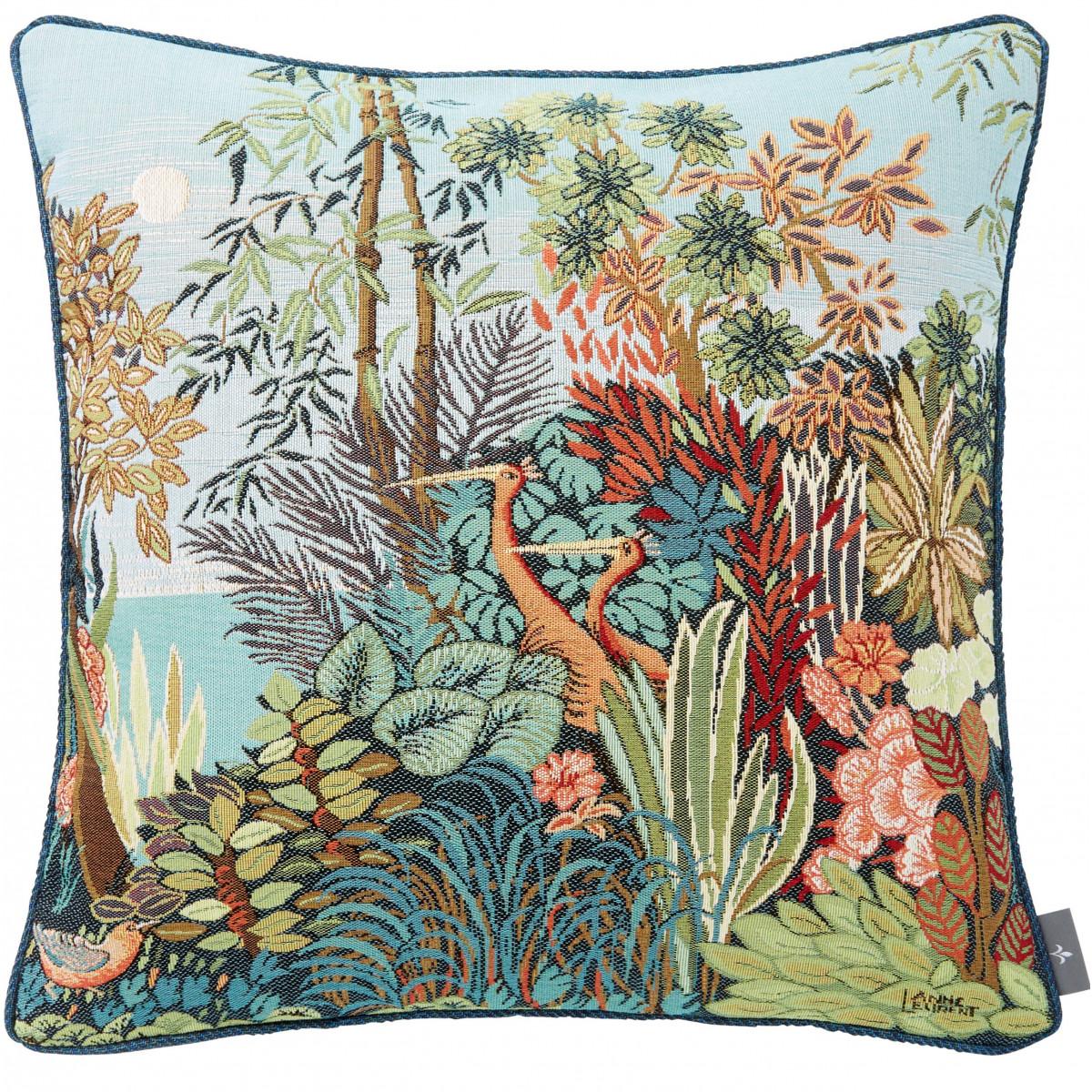 Coussin tapisserie oiseaux en forêt made in france bleu   50x50