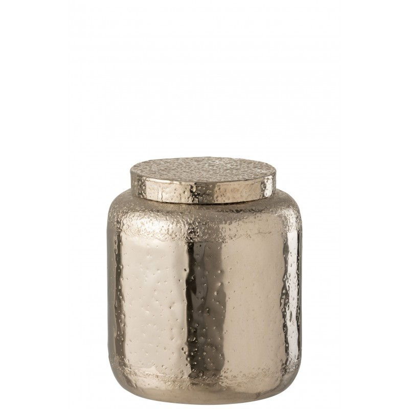 Pot décoratif + couvercle alu argent H29cm