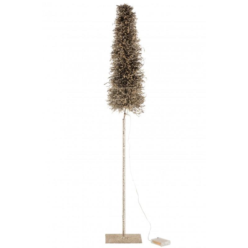 Arbre décoratif led/piles marron branches givrées H98cm