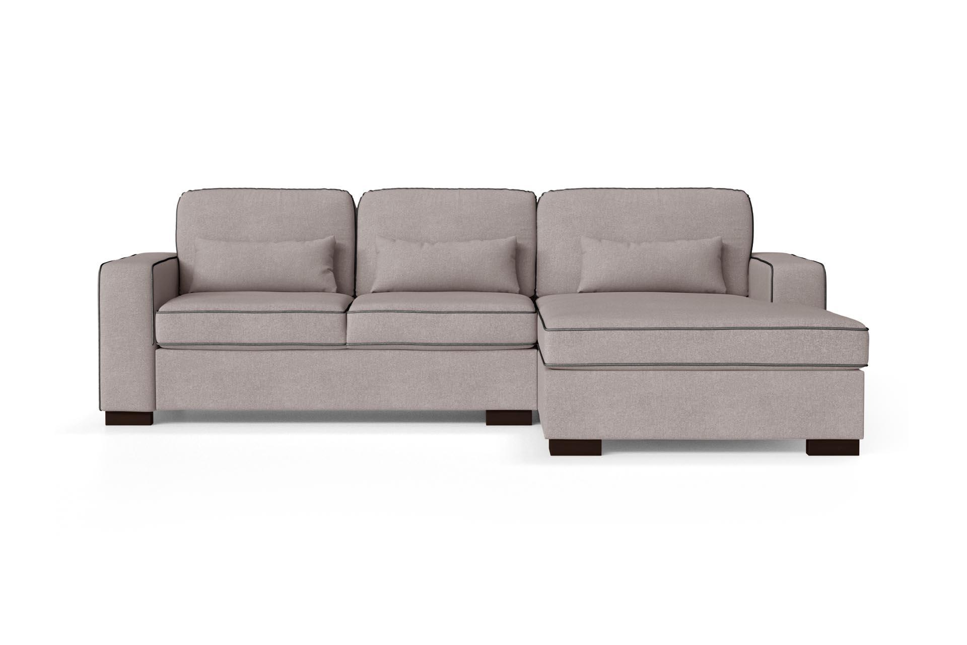 Canapé d'angle droit 4 places toucher coton rose poudré/anthracite