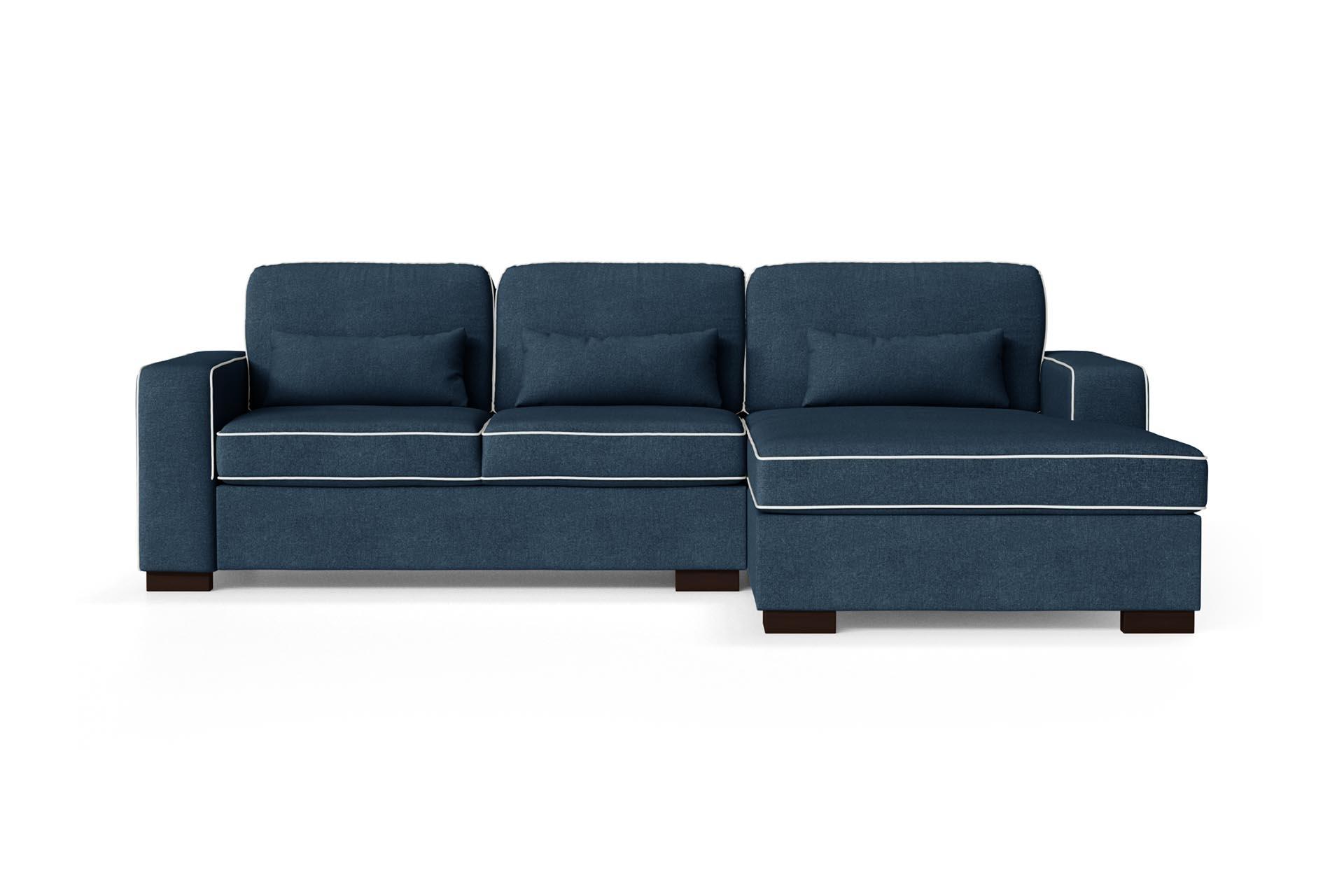 Canapé d'angle droit 4 places toucher coton bleu/gris clair