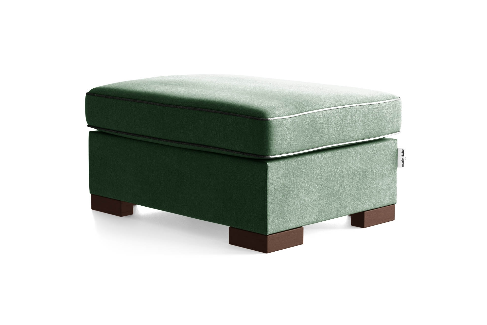 Pouf 1 place toucher coton vert bouteuille/anthracite