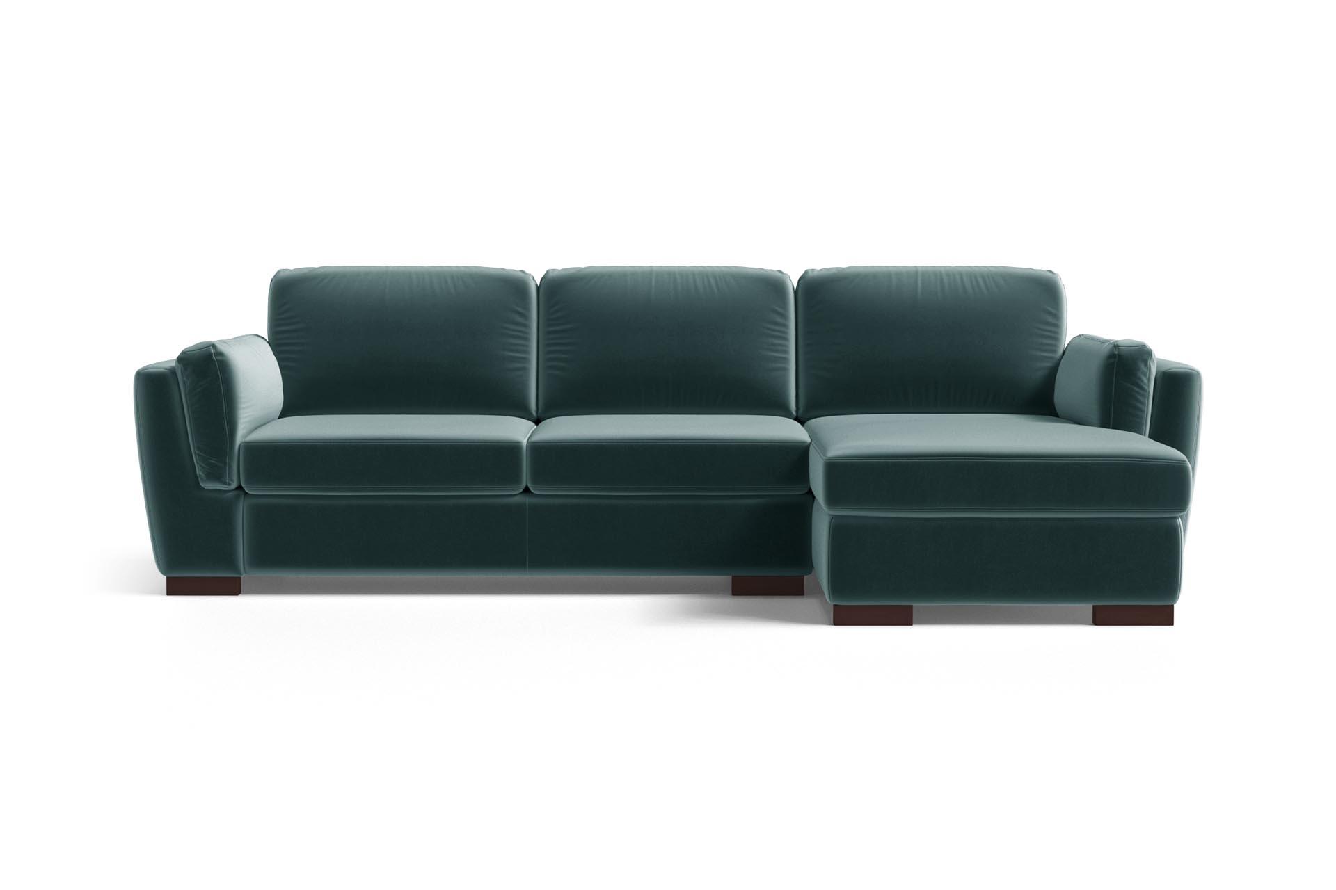 Canapé d'angle droit 4 places en velours bleu pétrole