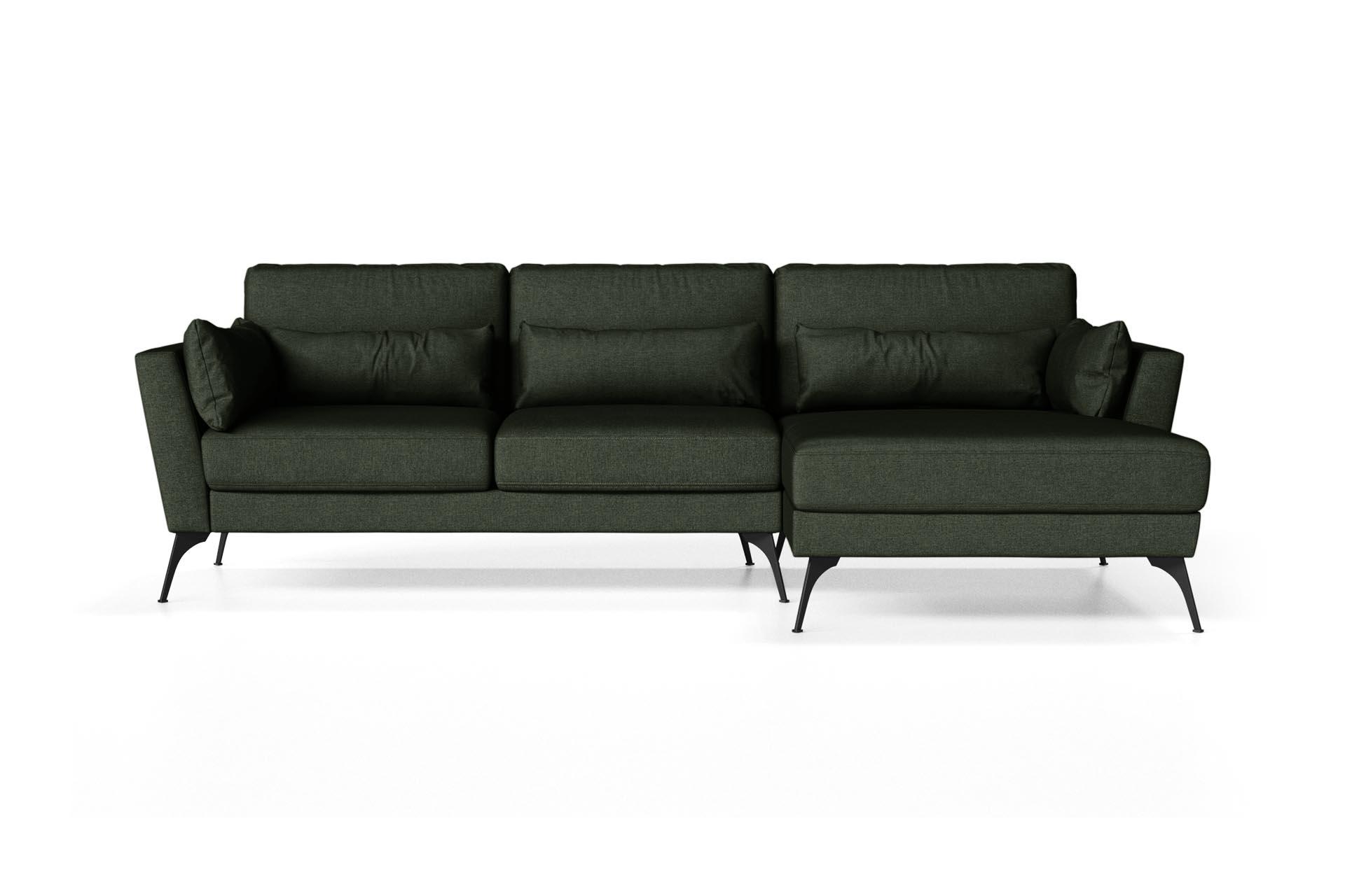 Canapé d'angle droit 4 places toucher lin vert bouteille