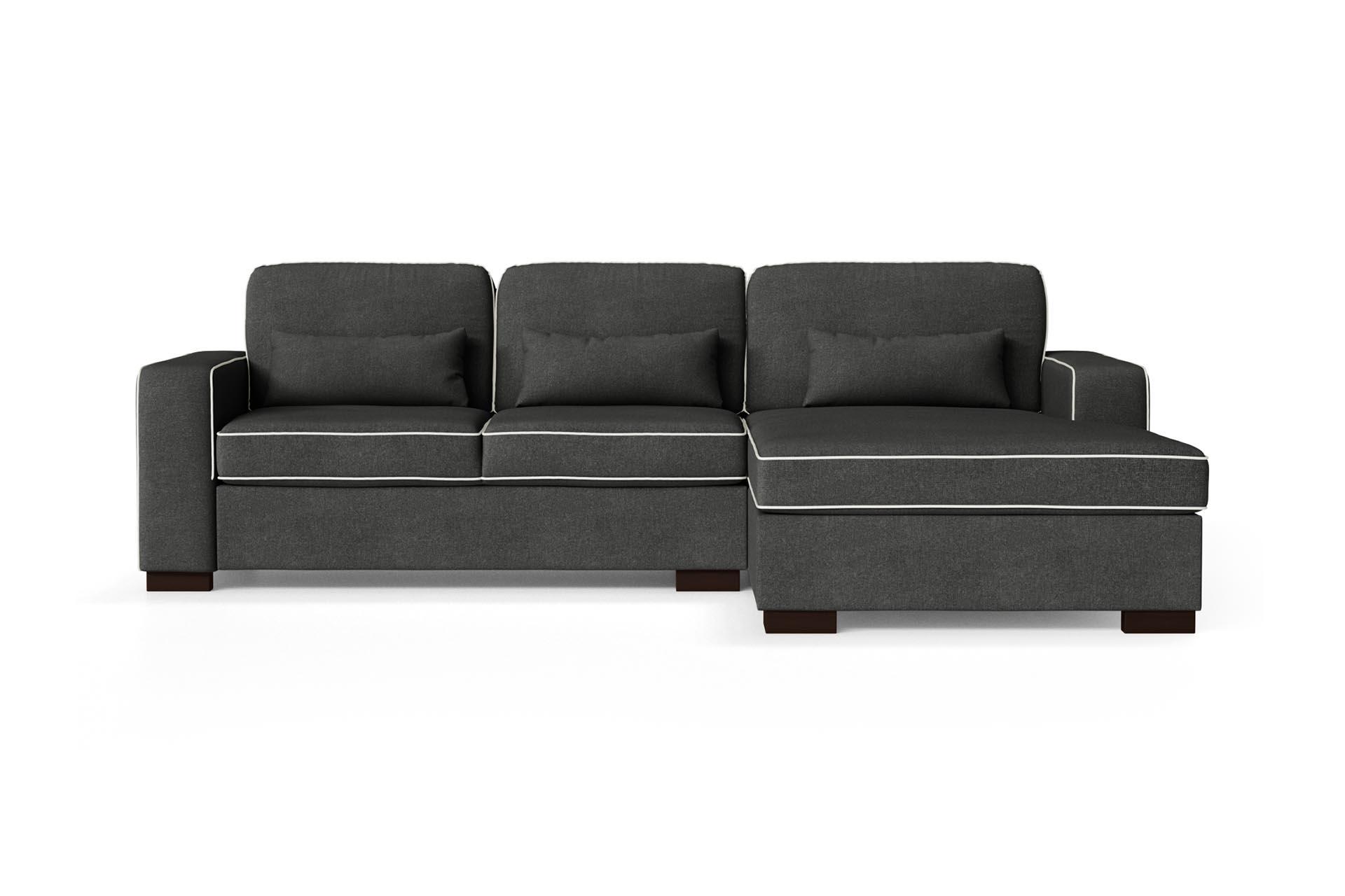 Canapé d'angle droit 4 places toucher coton anthracite/gris clair