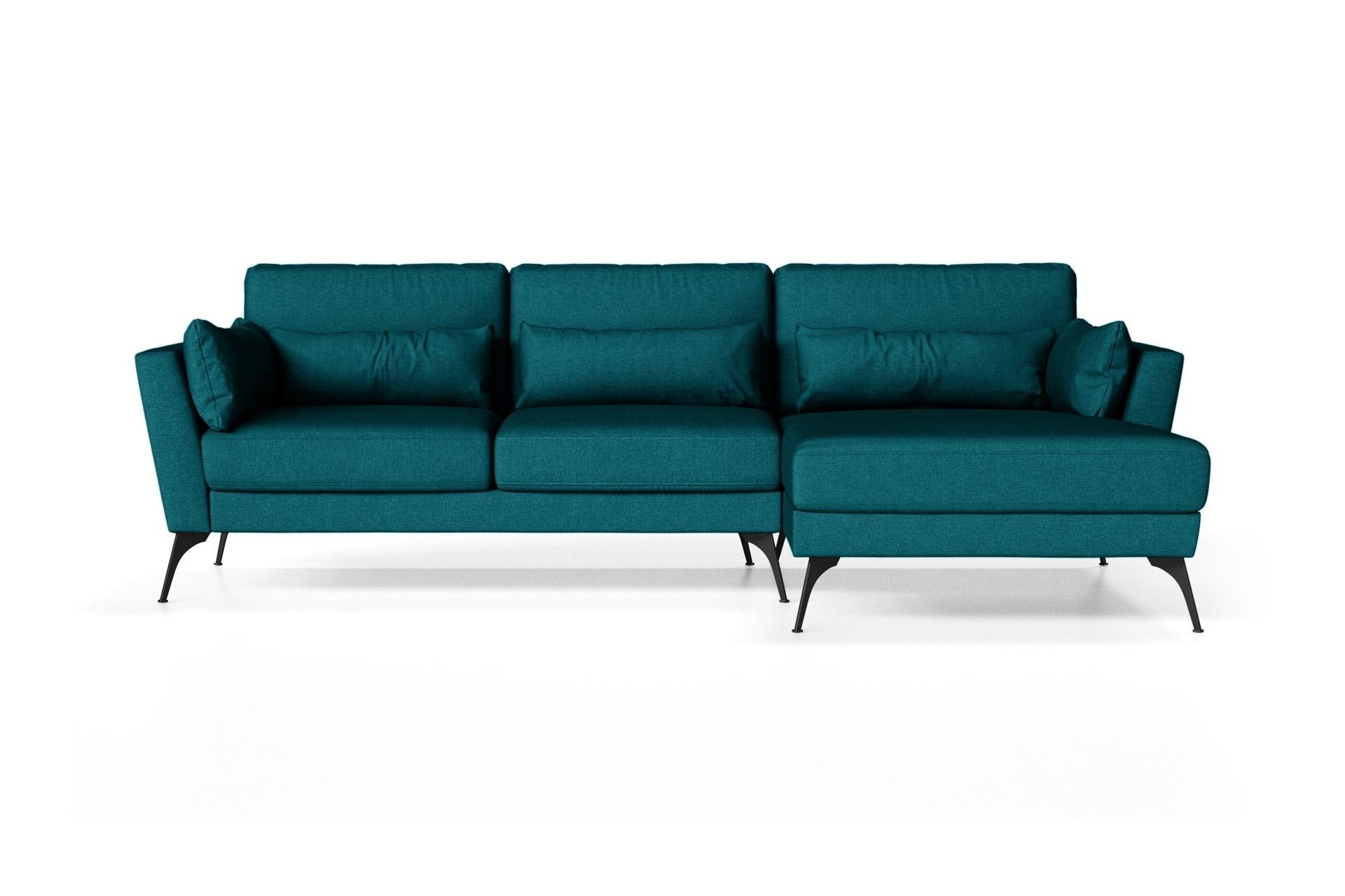 Canapé d'angle droit 4 places toucher lin turquoise