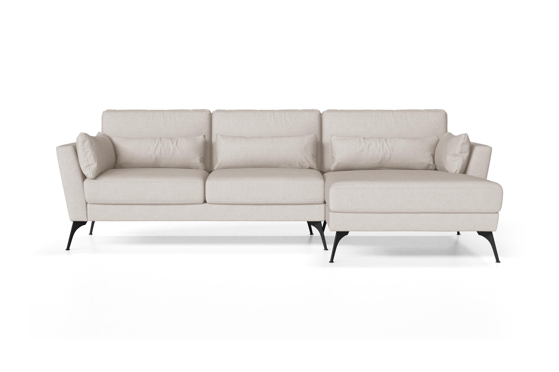 Canapé d'angle droit 4 places toucher lin blanc