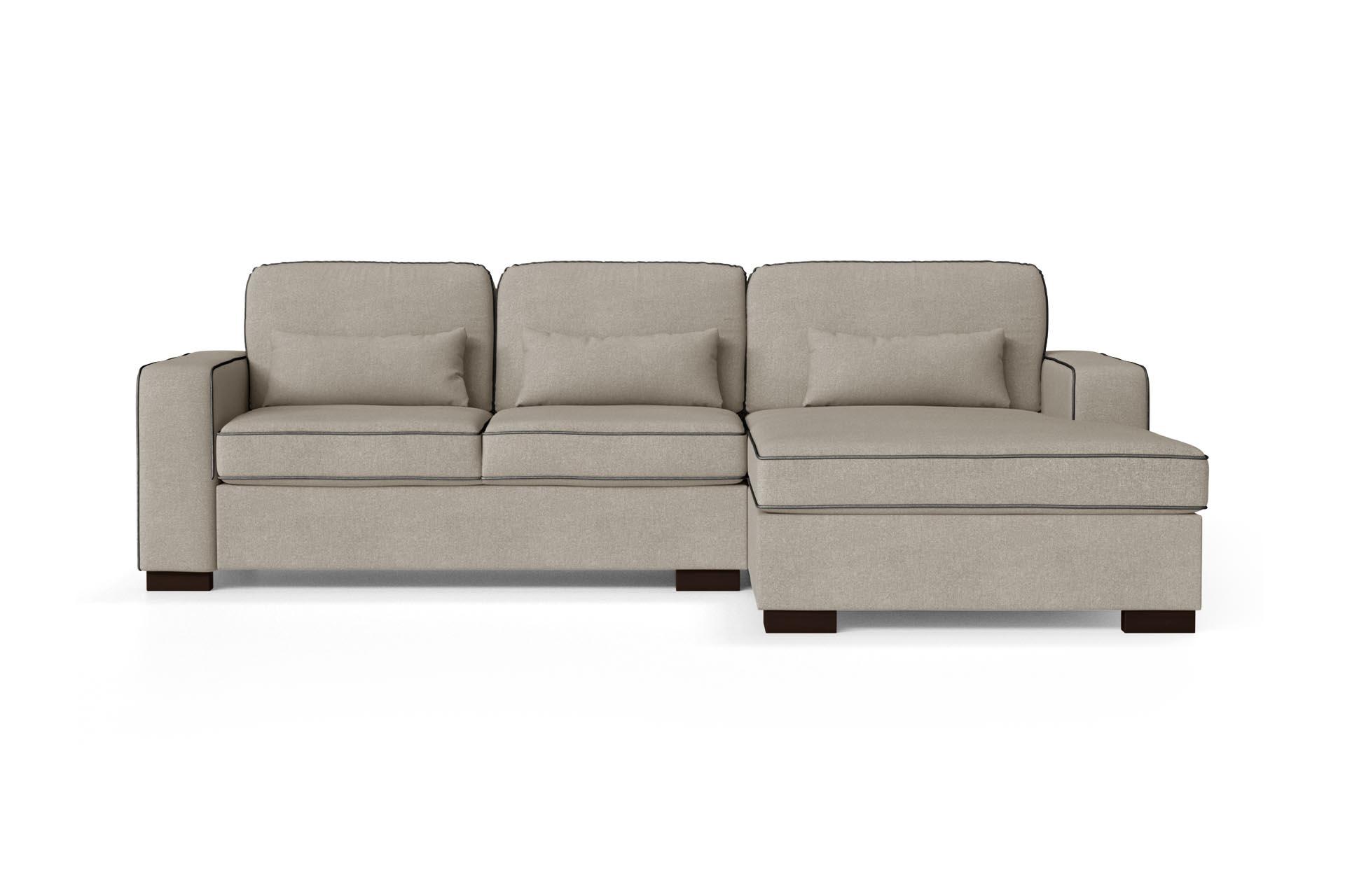 Canapé d'angle droit 4 places toucher coton taupe/anthracite