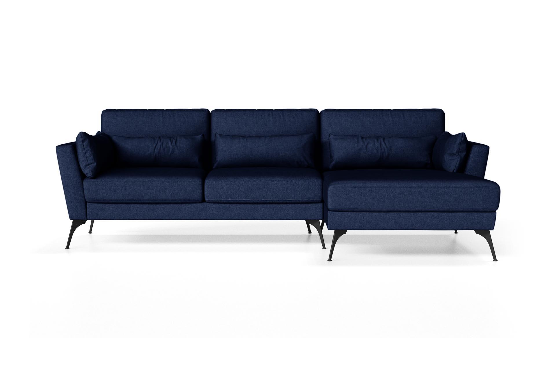 Canapé d'angle droit 4 places toucher lin bleu
