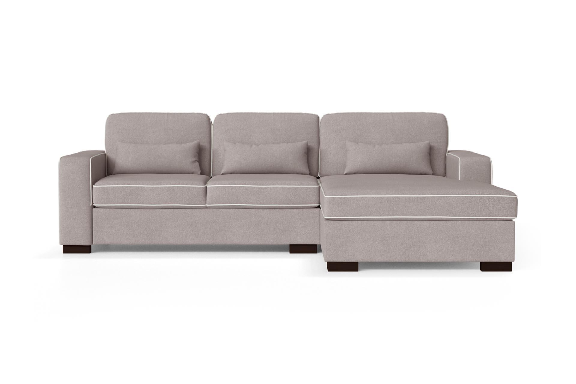 Canapé d'angle droit 4 places toucher coton rose poudré/gris clair