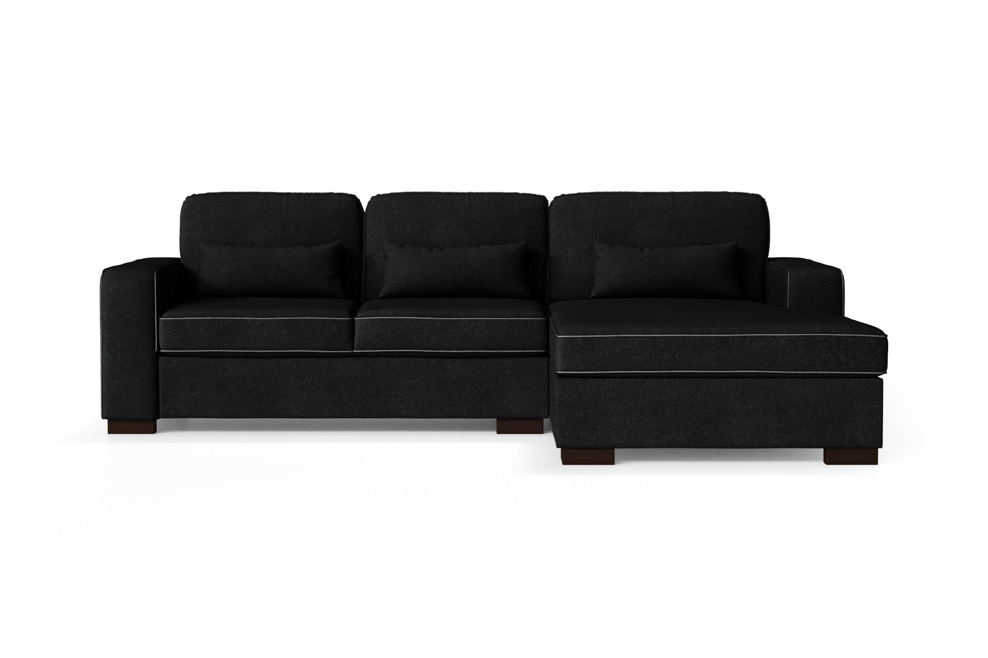Canapé d'angle droit 4 places toucher coton noir/anthracite