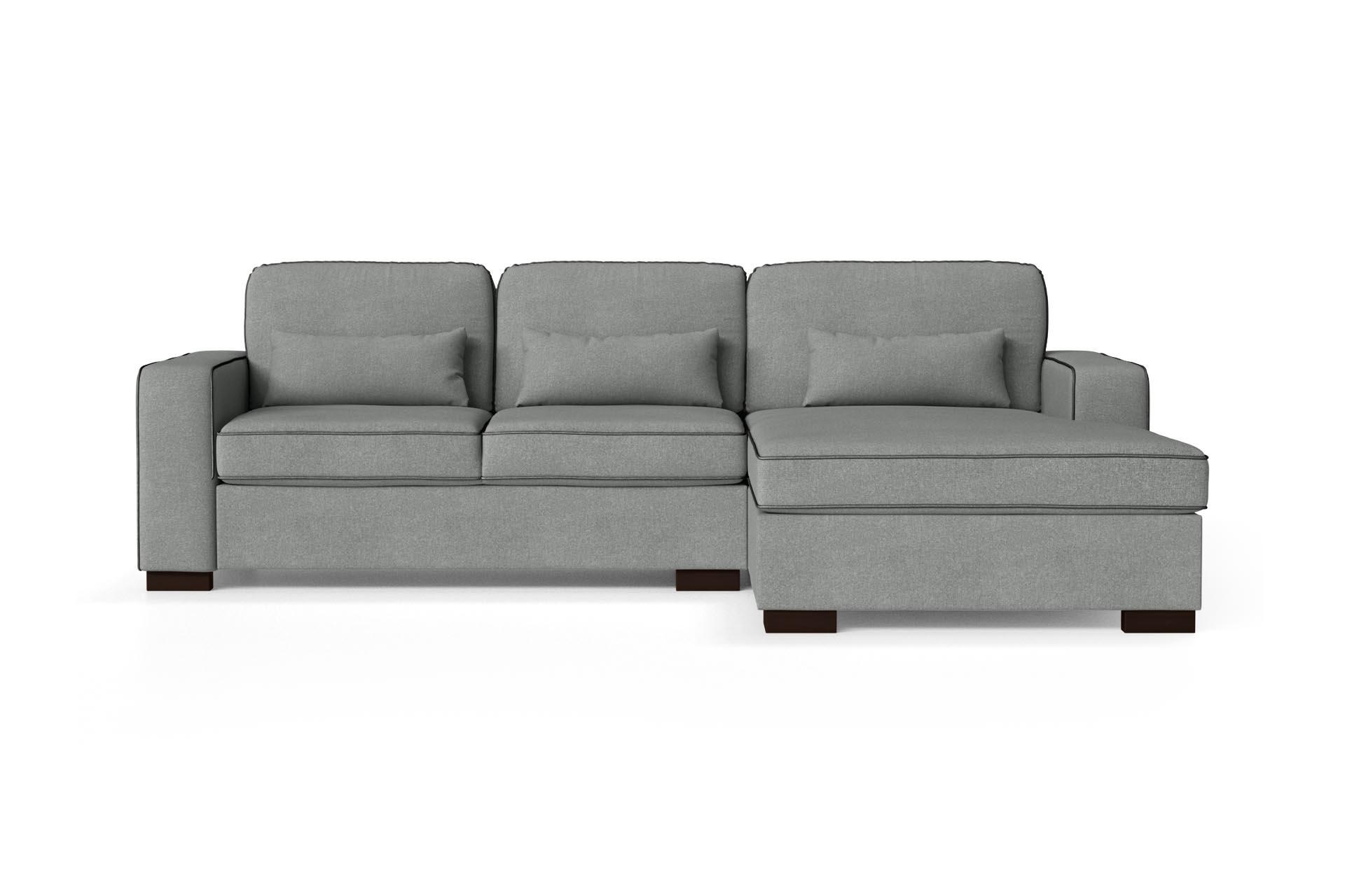 Canapé d'angle droit 4 places toucher coton gris/anthracite