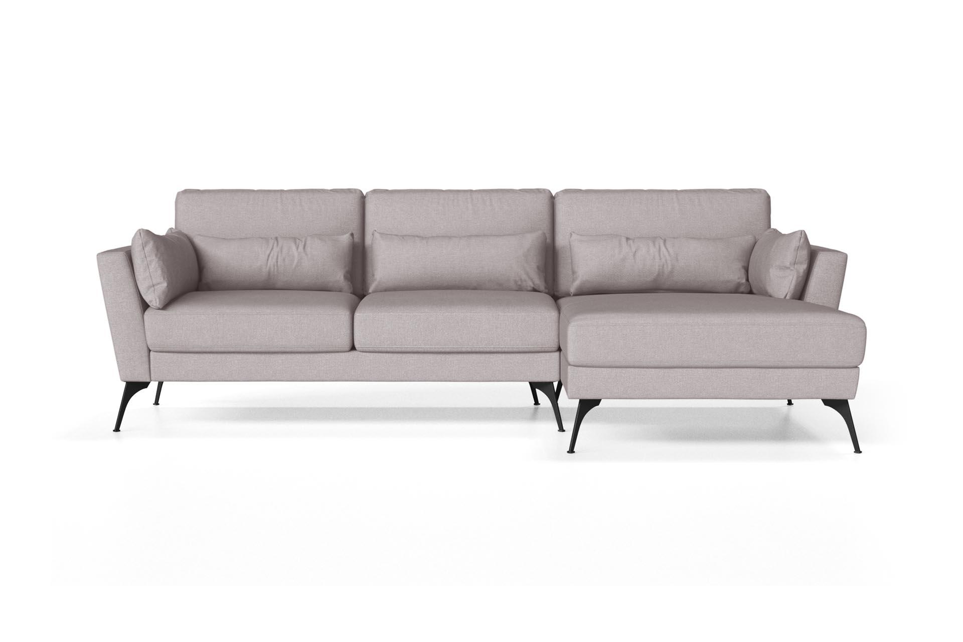 Canapé d'angle droit 4 places toucher lin beige