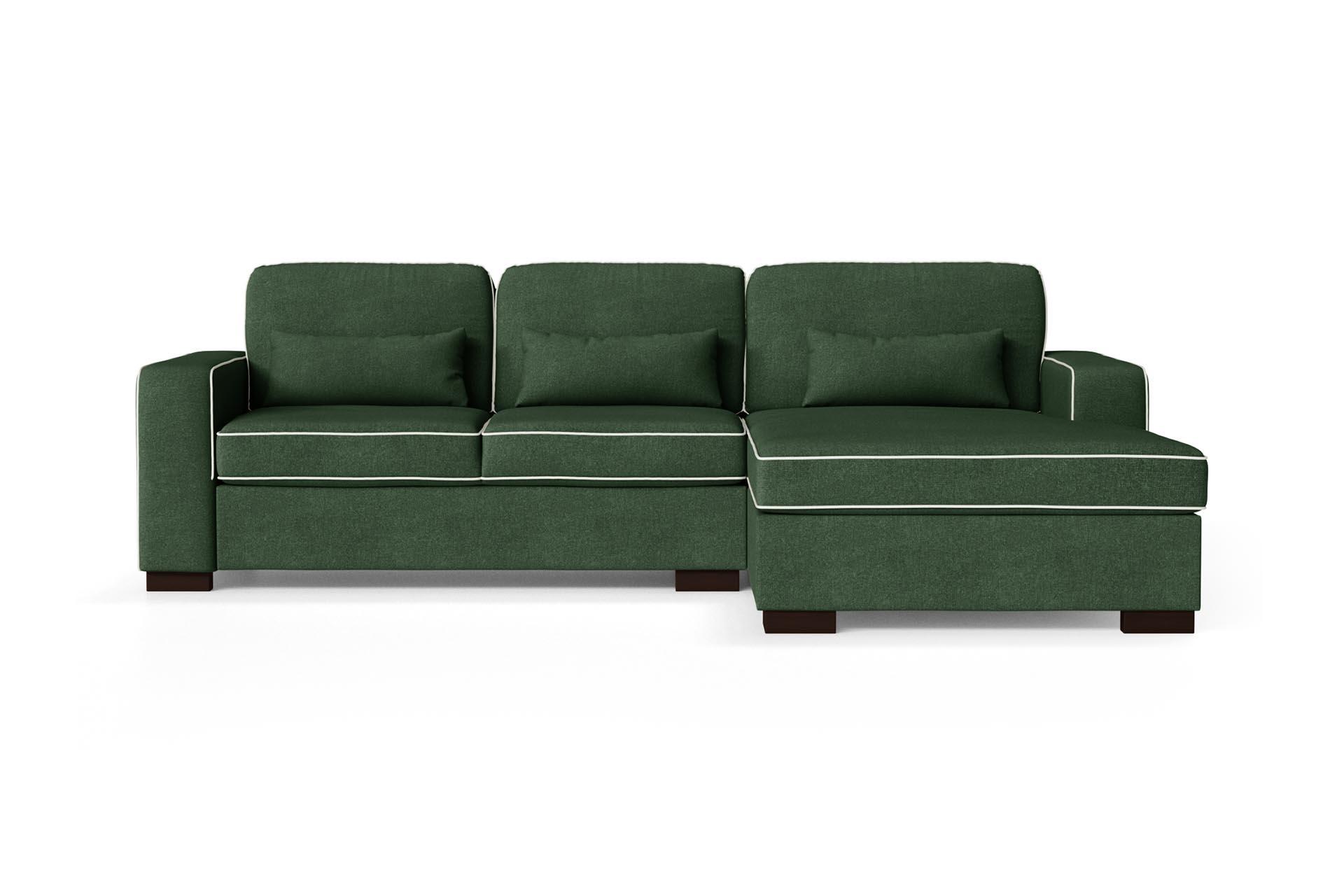 Canapé d'angle droit 4 places toucher coton vert bouteille/gris clair