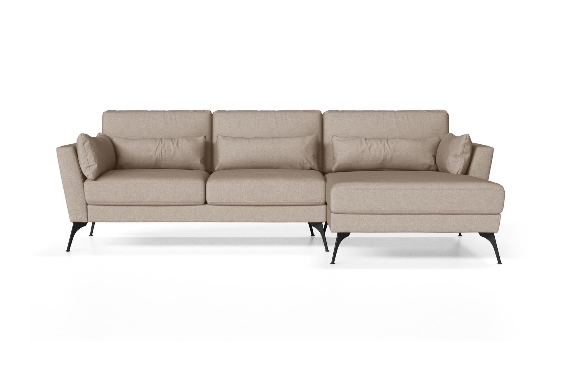 Canapé d'angle droit 4 places toucher lin sable