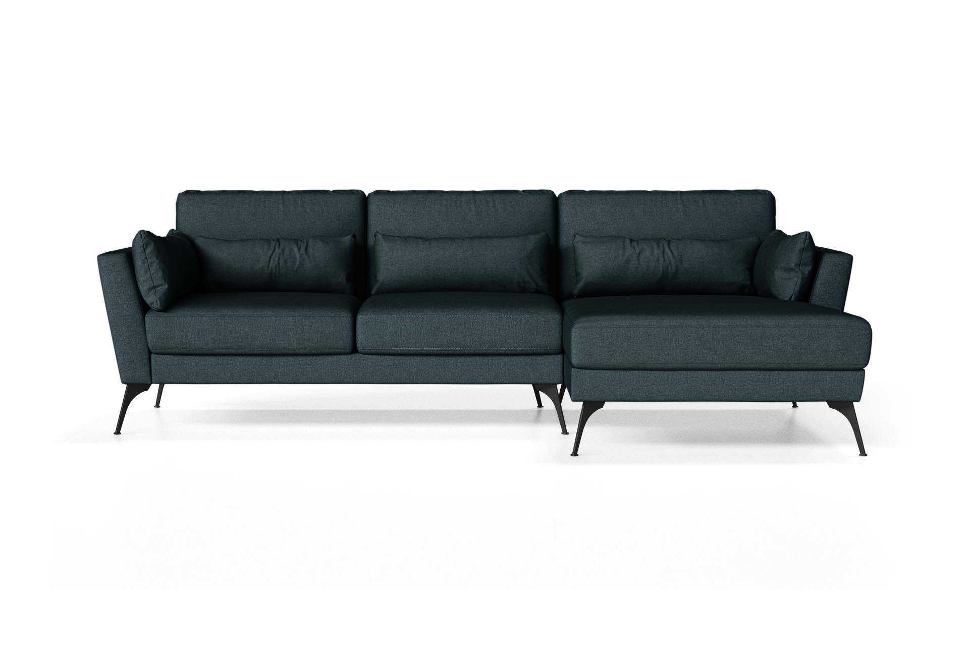 Canapé d'angle droit 4 places toucher lin bleu marine