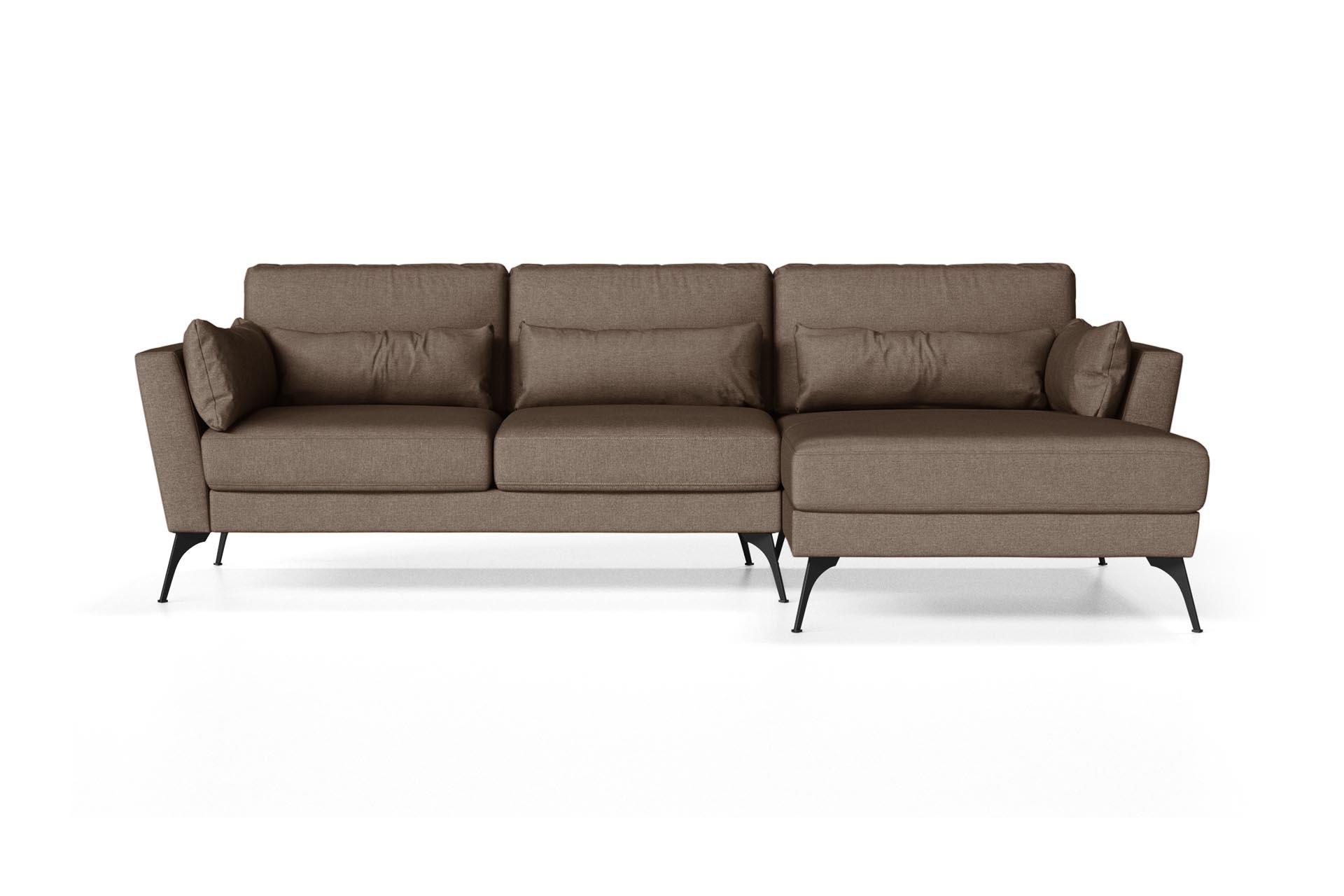 Canapé d'angle droit 4 places toucher lin noisette