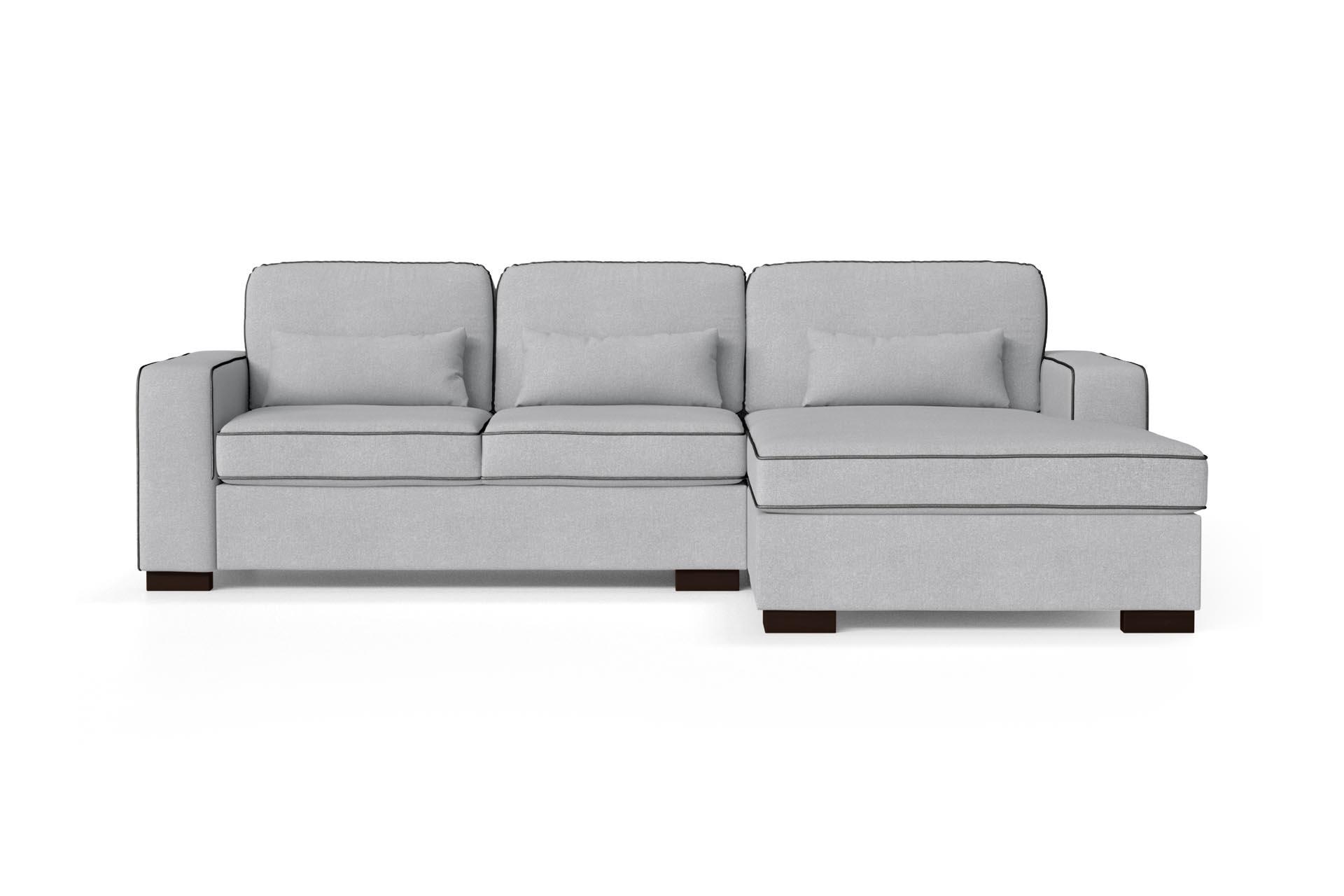 Canapé d'angle droit 4 places toucher coton gris clair/anthracite