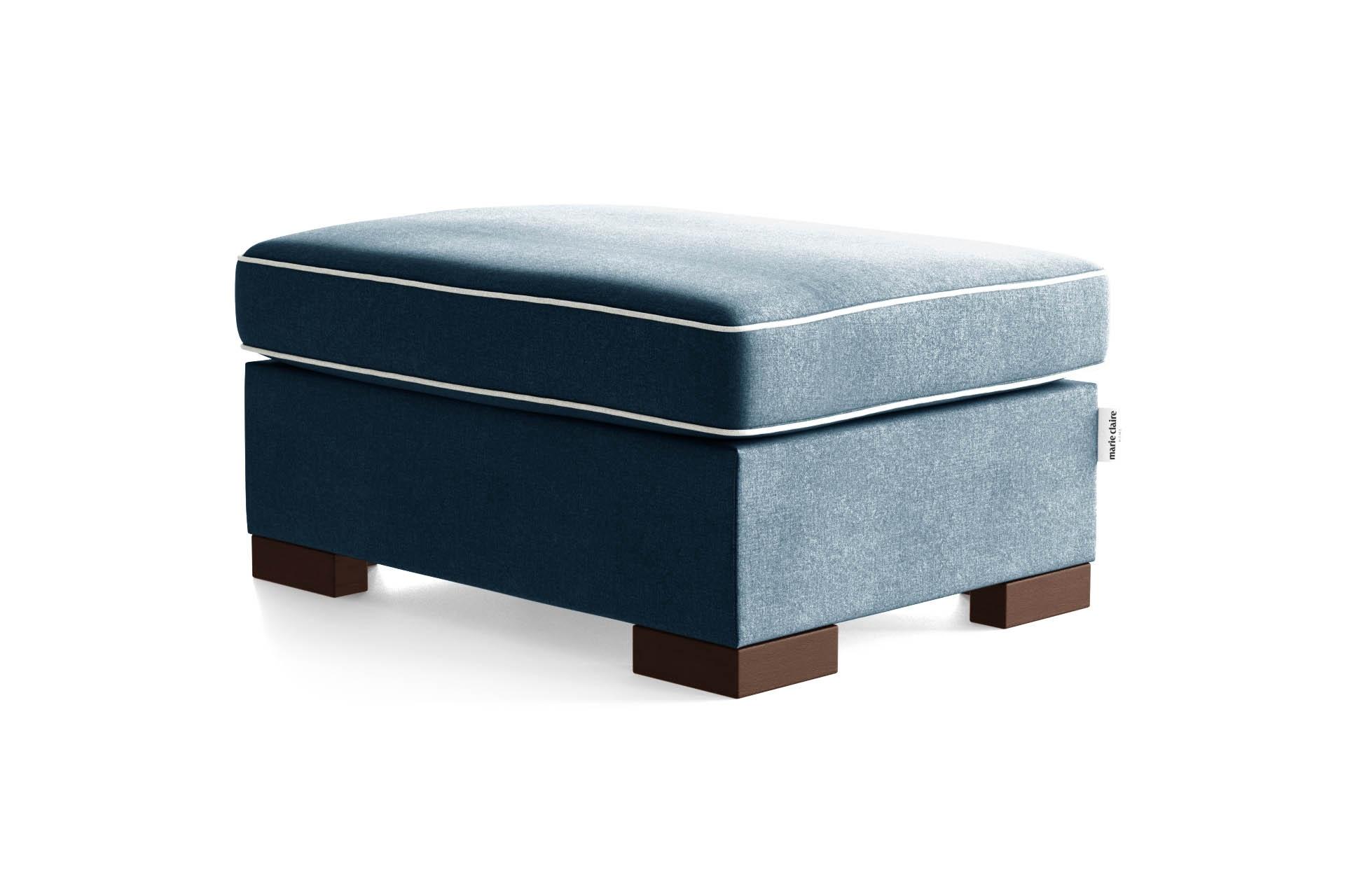 Pouf 1 place toucher coton bleu/gris clair