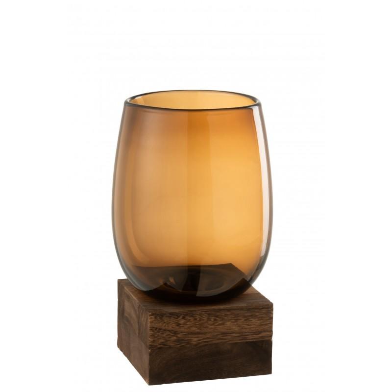 Vase haut sur pied en bois et verre marron H25,5cm