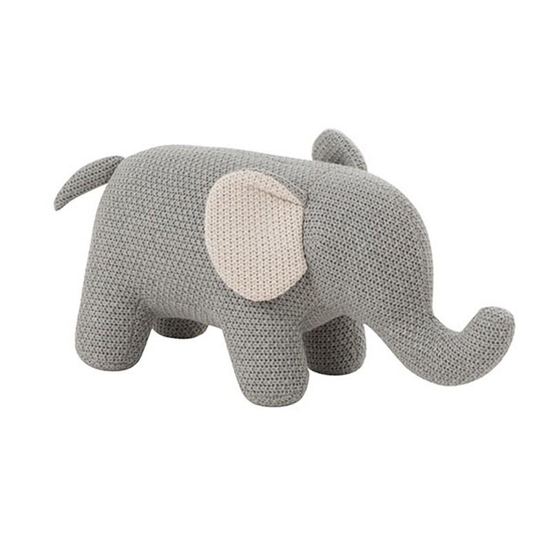 Mini éléphant coton gris/écru
