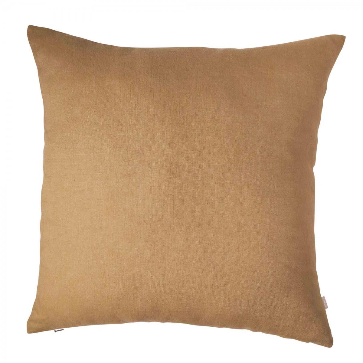 Housse de coussin en lin lavé marron camel 45x45