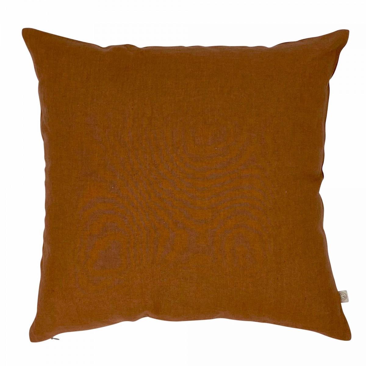 Housse de coussin en lin lavé marron cuivre 45x45
