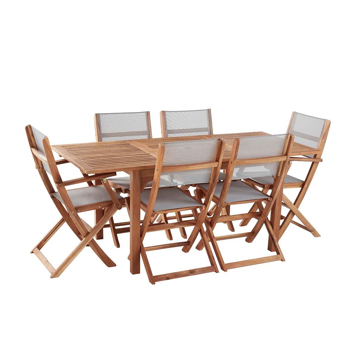 Salon de jardin en bois d'acacia et textilène gris 6 places