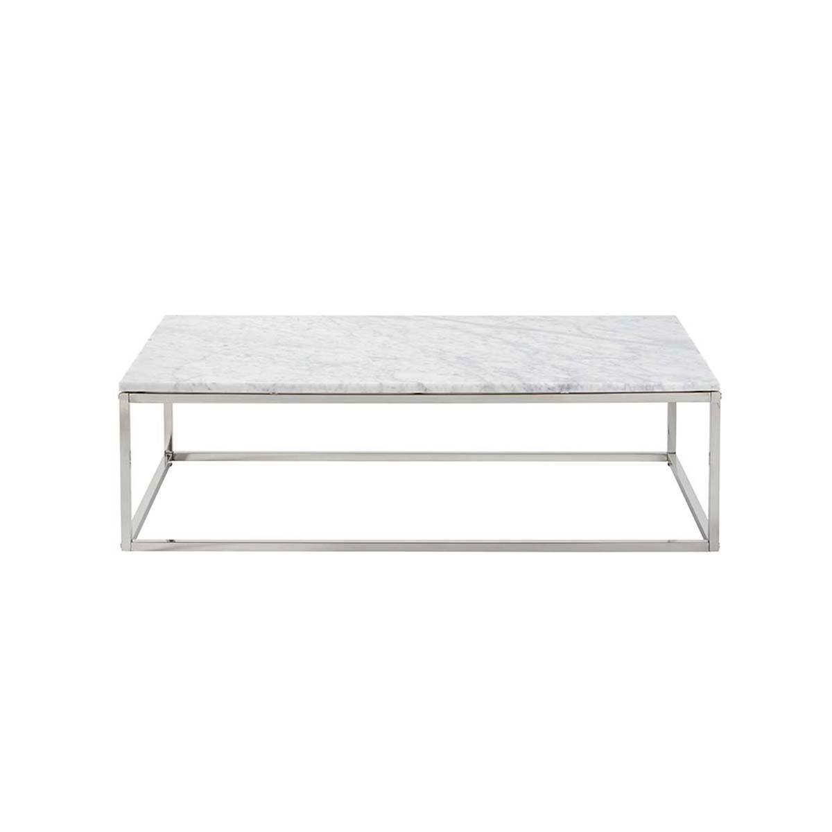 Table basse rectangulaire en marbre et métal blanche