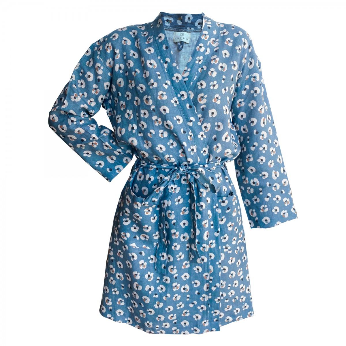 Kimono en lin lavé imprimé léopard bleu L
