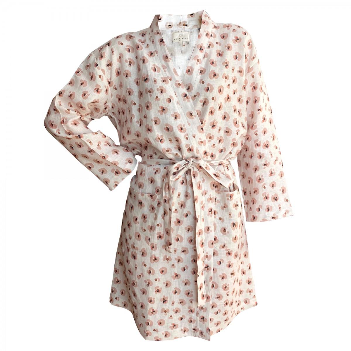 Kimono en lin lavé imprimé léopard crème S/M