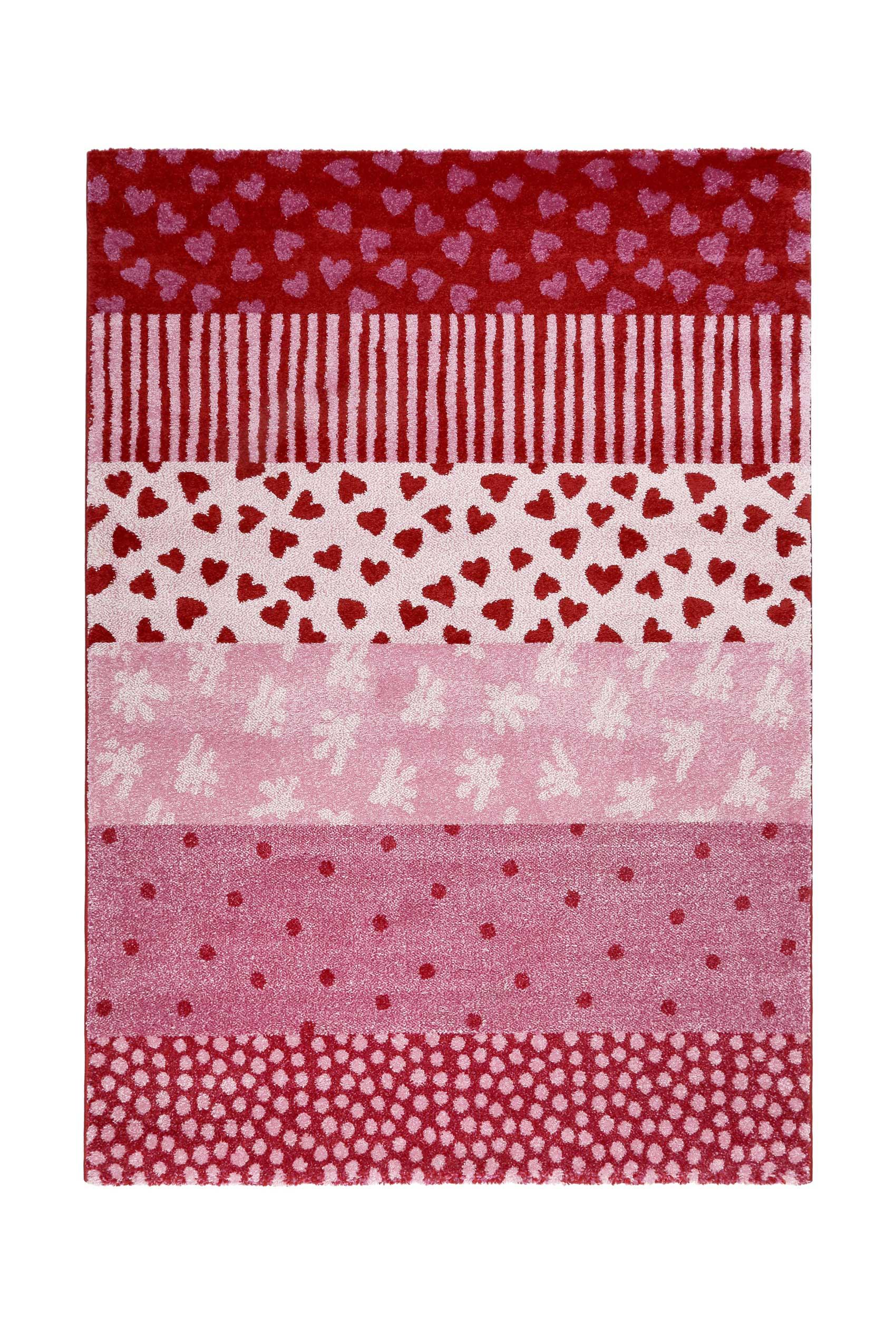 Tapis enfant motifs cœurs et pois alternés rose rouge 133x200